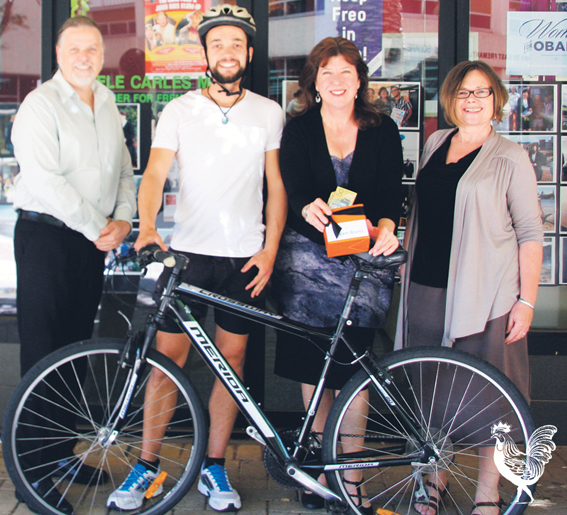 • Bruno Cordier set to cycle the Nullarbor, seen here with Fremantle MP Adele Carles and staffer Lee Bell and Helen Grey Smith. Photo supplied | Adele Carles