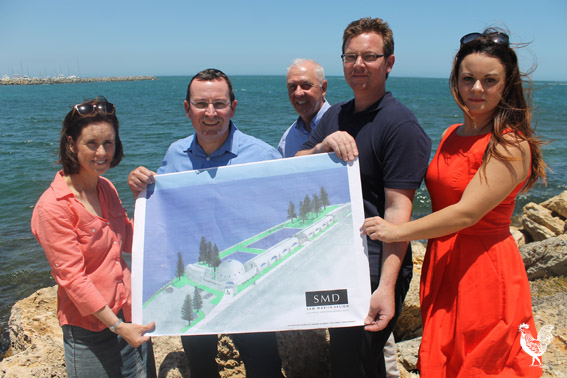 • Labor leader Mark McGowan, Cockburn MP Fran Logan and party hopefuls Simone McGurk and Klara Andric with architect Sam Martin.