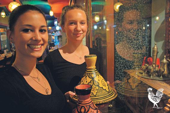 • Kaza Blanca waitresses Eva Trinder-Saura and Holly Shanks.