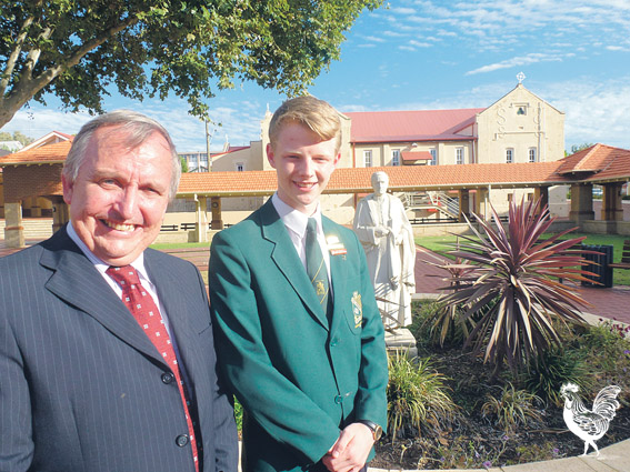 Principal Shaun Kenny and student Alex Skinner.