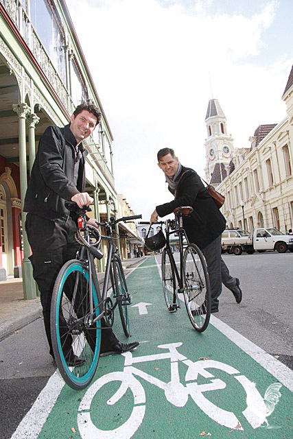 • Senator Scott Ludlam, with Fremantle mayor Brad Pettitt, says the port city's new bike plan incorporates much of the Greens' bike vision.