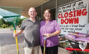 • Harry Deacon (with customer Trish Figgess) is calling it quits after 30 years. Photo by Matthew Dwyer