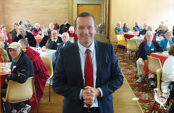 • Mark McGowan with pensioners in Palmyra.