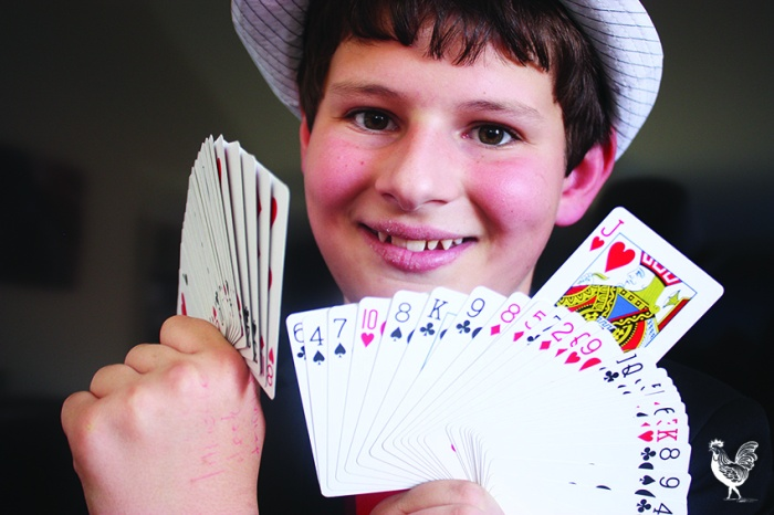 • The amazing Sam Parrish and his favourite Jack of Hearts: he has 100 packs of cards. Photo by Steve Grant