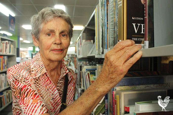 • Library user June Hutchison is urging a rethink of the Kings Square designs. Photo by Steve Grant