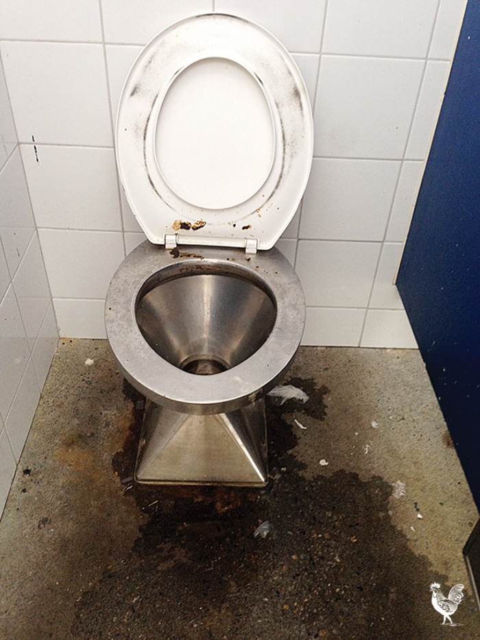 • Left: The South Beach toilets last Sunday at 10am—cleaned six times a day, the council reckons.
