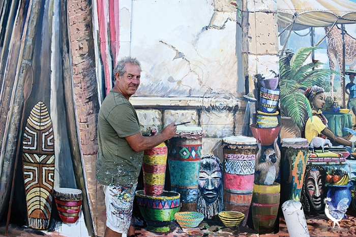 • Graeme Miles is the man behind South Terrace's giant mural. PhotosbyEmmieDowling
