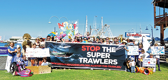 • Locals gather outside Cicerellos to protest supertrawlers in Australia. Photo supplied