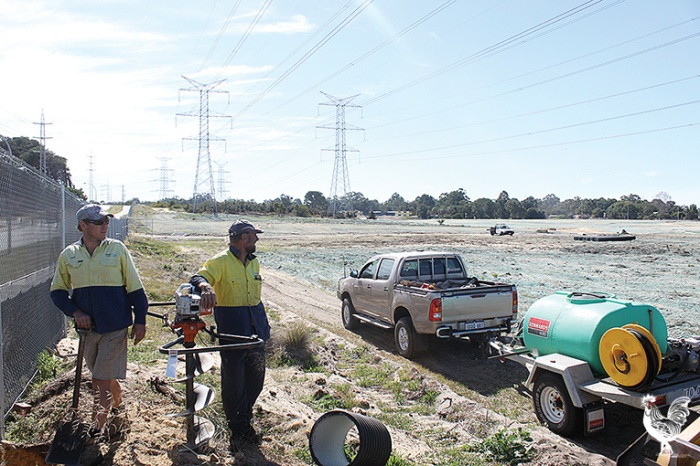 • Groundwork's well underway at Cockburn Central west to make way for the new Dockers' home ground.
