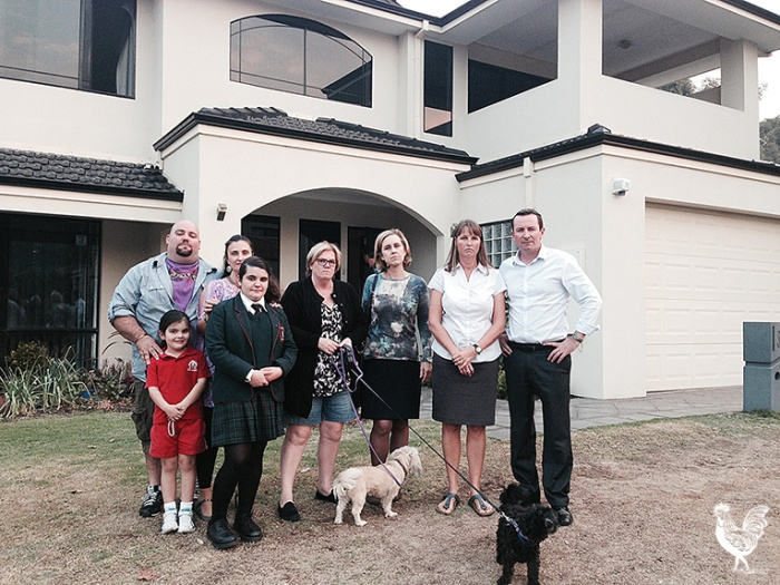 • The Morris family home is in the path of the Perth freight link. They're pictured with Fremantle Labor MP Simone McGurk and Labor leader Mark McGowan, who say the link should be ditched and the money spent on a new Kwinana port. Photosupplied