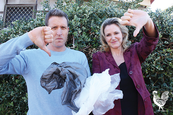 • Melissa Parke and staffer Josh Wilson (who's also Freo's deputy mayor), worry Fremantle's plans to ban plastic bags might could foul of a pending trade agreement. Photo by Steve Grant