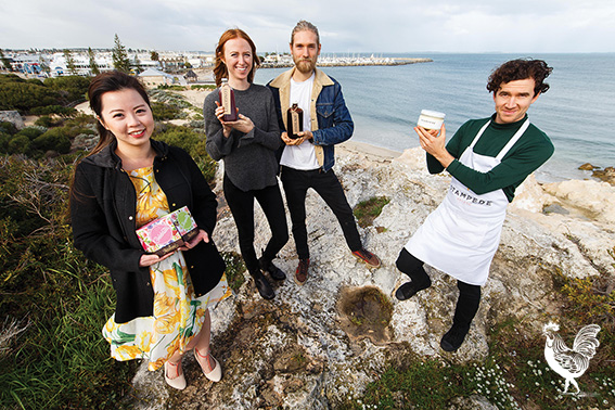 • Meet some of Fremantle's new entrepreneurs: Bena Andriani (Teassential), Leah Gilbert and German native Paul Harms (Gypsy Elixir), and Adam Semple (Stampede gelato). Photo by Matthew Dwyer