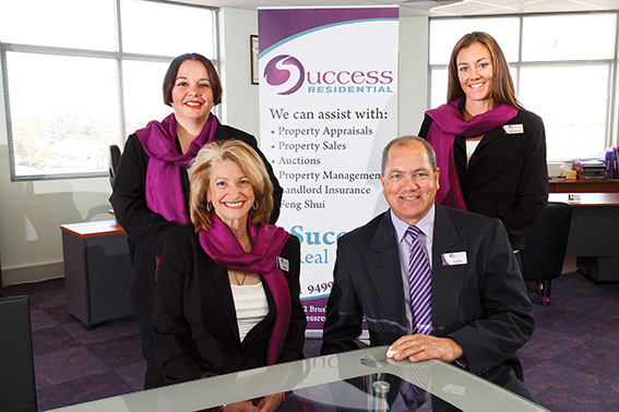 Seated: Director/Licensee Mary Piraino and  Management Consultant Larry Parsons Standing: Property Consultants Simone Crispo and Michelle Pettit`