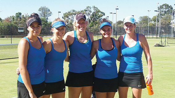 • Blue Gum Tennis Club's women's team, with Nicole Sewell on the right, will be hoping to defend their state league title this weekend.