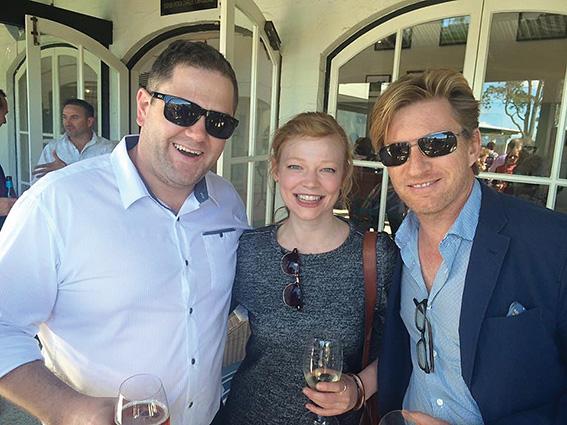 • Matt Eeles with David Wenham (Pirates of the Caribbean, Dead Men Tell No Tales) and Sarah Snook (The Dressmaker) at CinefestOZ.Photosupplied