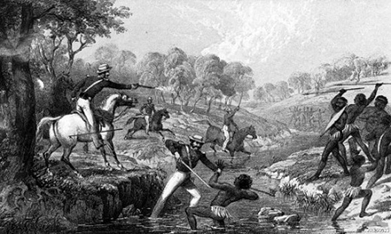 • 'Mounted Police and Blacks' depicts the killing of Aboriginals at Slaughterhouse Creek by British troops. Australian War Memorial image ART50023 www.sovereignunion.mobi/node/1054