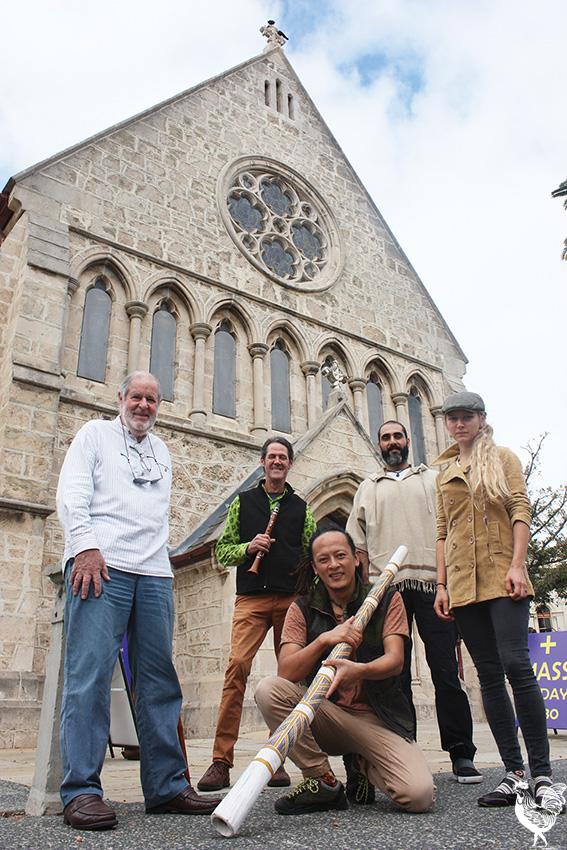 • St Johns parishioner Bob Hewitt and Eastwinds members Mark Cain, Sanshi, Esfandir Shahmir and Kristiina Maalaps. PhotobySteveGrant