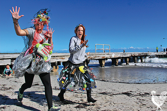 • Tamara Nzima and Heather Lindgren from Sea Shepherd wear plastic costumes made from debris found on Perth beaches. They'll be at Woodman Point this weekend for the big community clean-up.