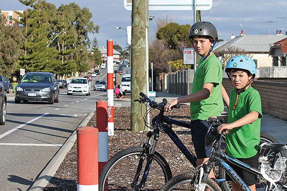 • Fremantle Primary School pupil's Jay Elliott-Tideman and Zephyr Balint at the Hampton Road crossing. Photo by Stephen Pollock