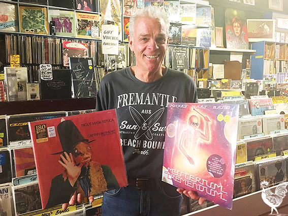 • Record Finder owner Mark Lahogue with some 180 gsm vinyl. Photo by Stephen Pollock