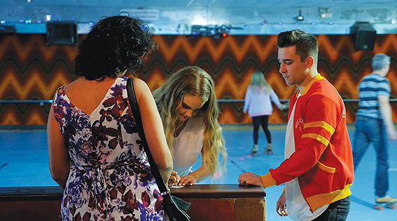 • A scene from Matt Mitchell's film about love on the roller rink.