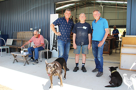 • Alex Marshall, Terry Mercer and Bill Johnston celebrate the new Freo Men's Shed opening for business.