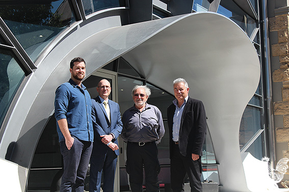 • MSC's Robert Boyce with architects Murray Slavin, Stuart Neal and Bill Coe. Photo byTrilokeshChanmugam