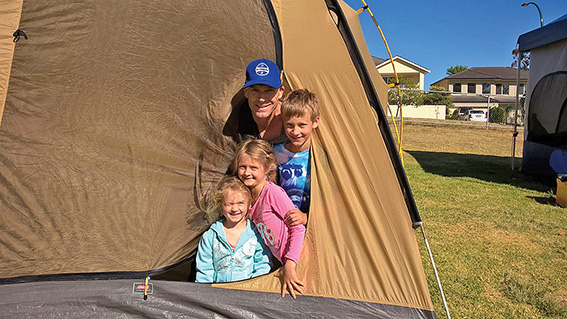 • Gavin Miller and his kids at the Attadads campout. Photos supplied