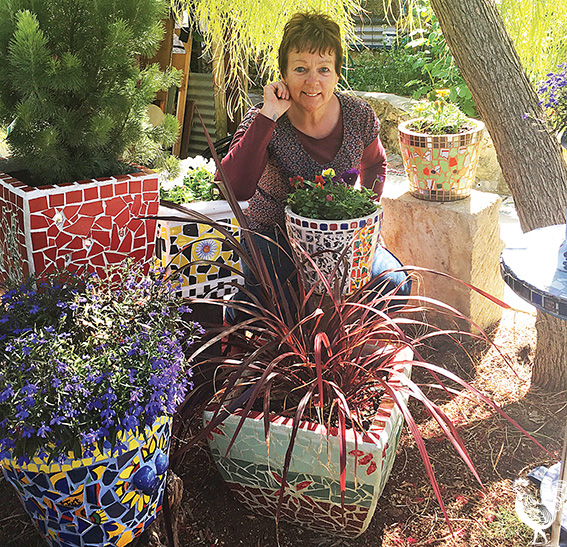 • Jackie Johnstone's backyard is a mosaic paradise. Photo by Jenny D'Anger