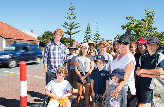 • Bridget and Oscar Holohan with South Fremantle residents at the dangerous Hampton Road-Scott Street intersection. Photo supplied