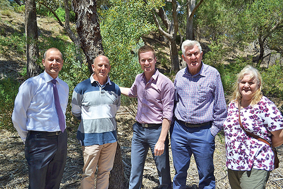 • Matt Taylor, Peter Neesham (chair of Bicton Environmental Action Group), Albert Jacob, Mike Nichol (chair of Friends of Attadale Foreshore) and BEAG volunteer Kay. Photo supplied