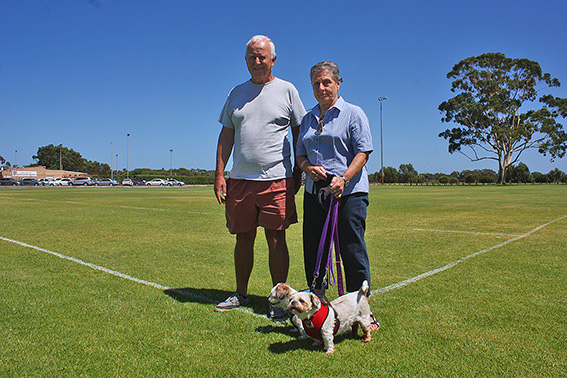 • Mr Gear and Judith Armstrong show the land to be taken up by the wave park, with the bowls club in the background.