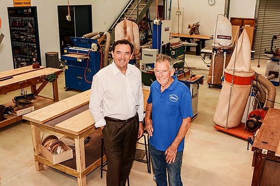 • Peter Tinley with Fremantle Men's Shed president Bill Johnstone in Hilton. Photo supplied