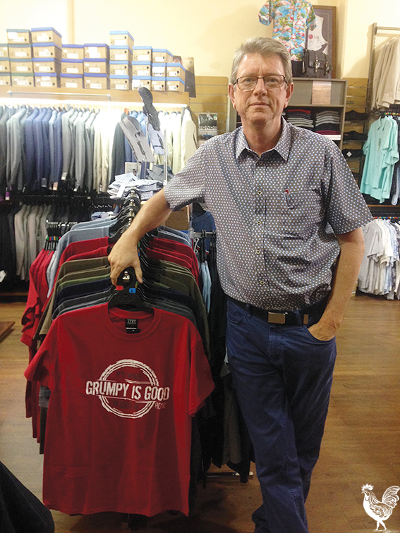 • Grumpy is Good, says the T-Shirt, but it's Bruce Haskell's humour that's more evident around the historic Fremantle shop. Photos by Holly Coomey