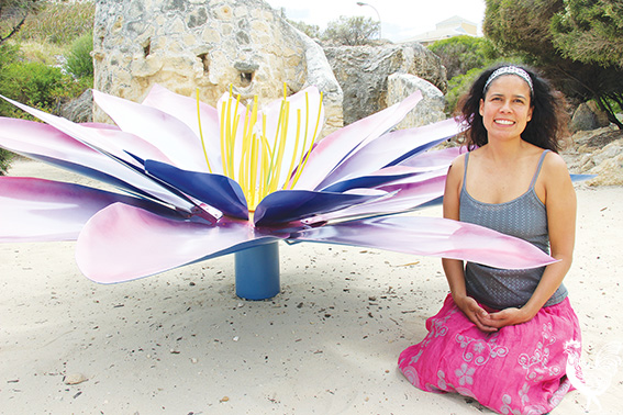 • Sculpture at Bathers opens this weekend and it's a ripper, with the beach packed with a dazzling and thought-provoking array of works such as South Lake's Melani Maclou, pictured with her Lakshmi's Lotus.