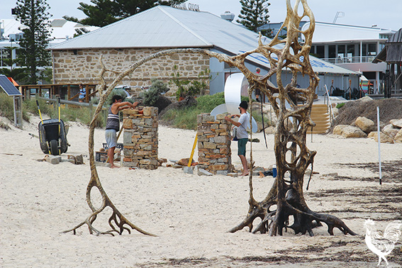 • Workers were out adding the finishing touches to this weekend's Scultpure at Bathers