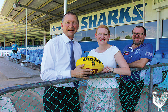 • Liberal Bicton candidate Matt Taylor with planning minister Donna Faragher and East Fremantle Sharks CEO Todd Shimmon. Photo by Steve Grant